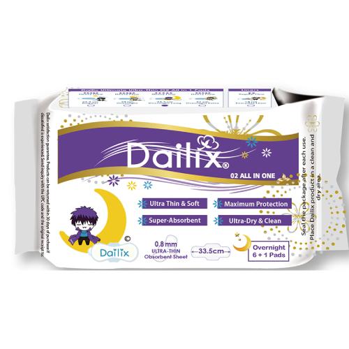 《Dailix》抑菌抗敏淨味超乾爽透氣衛生棉(加長夜用33.5cm-7片/包)