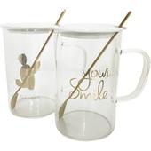 悠雅時光帶蓋玻璃杯 款式隨機  茶杯 咖啡杯 牛奶杯 馬克杯(470ml)