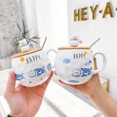 貓與魚木蓋大肚馬克杯 款式隨機 咖啡杯 牛奶杯 水杯 麥片杯(450ml)