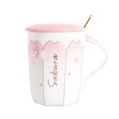 唯美櫻花帶蓋馬克杯 款式隨機 咖啡杯 牛奶杯 水杯(400ml)
