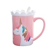 夢幻獨角獸帶蓋馬克杯 顏色隨機 咖啡杯 牛奶杯 水杯(350ml)