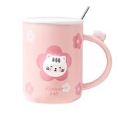 粉紅貓咪帶蓋馬克杯 款式隨機 咖啡杯 牛奶杯 水杯(400ml)