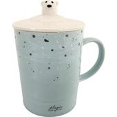 雪熊帶蓋馬克杯 顏色隨機 茶杯 咖啡杯 牛奶杯 水杯(375ml)