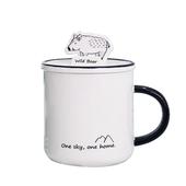 森林動物帶蓋馬克杯 款式隨機  北歐 茶水杯 咖啡杯 牛奶杯(350ml)