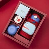 暢游海洋316不鏽鋼兒童保溫杯禮盒組(紅)