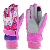 加厚防風兒童保暖手套-紅(S)