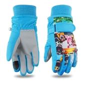 加厚防風兒童保暖手套-藍(S)