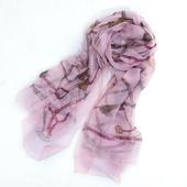 薄款鏈條仿真絲柔紗巾-135X185cm(粉色鏈條)