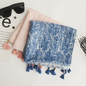 羽毛印花棉麻圍巾-180X90cm(粉色)