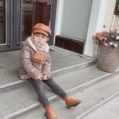 兒童韓系菱格毛線圍巾-22X138cm焦糖米