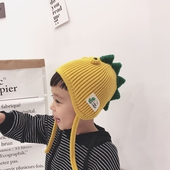 兒童恐龍護耳毛線帽紅色