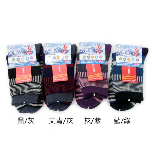 《大男人》發熱紗棉襪26-29cm  顏色隨機(幾何-9037)