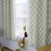 打孔印花棉麻窗簾140X130綠色菱形