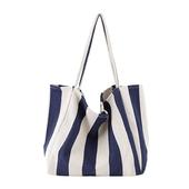 條紋大容量帆布包-39X21X35cm(寬條藍)